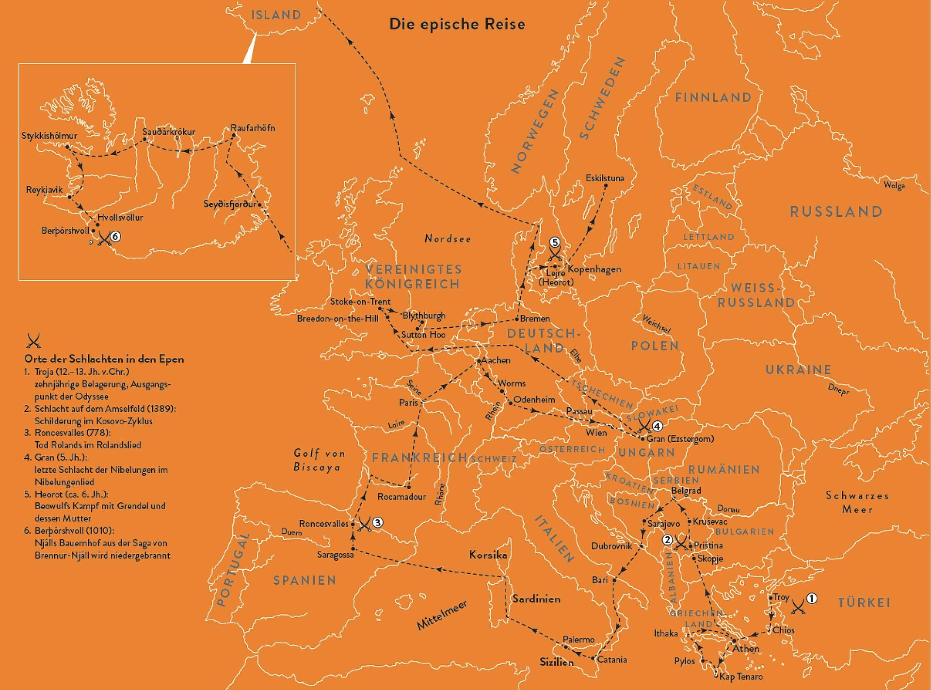 Karte der Reiseroute