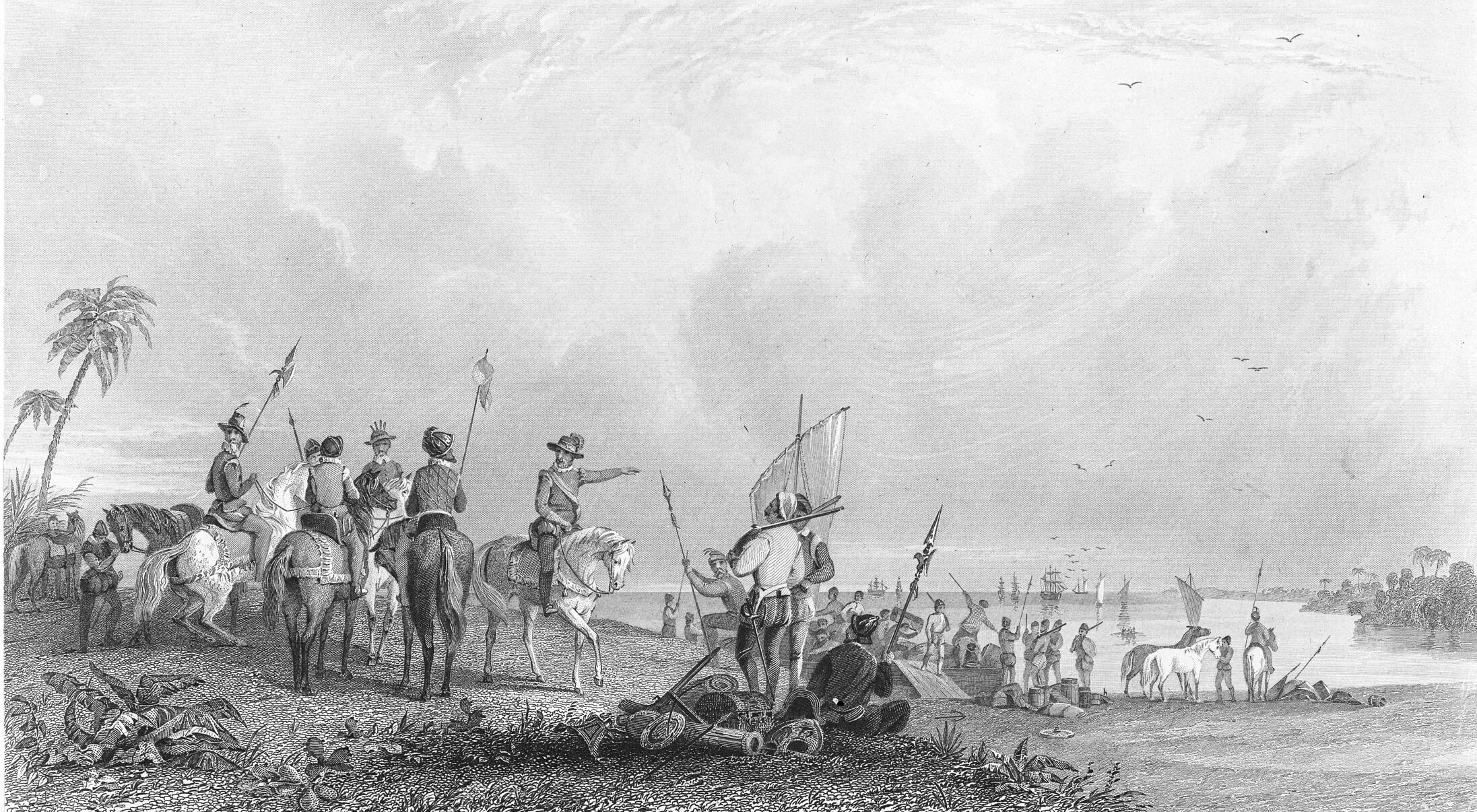 Print shows Hernando De Soto and other soldiers at Tampa Bay.